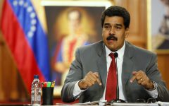 Maduro speaks during a news conference at Miraflores palace in Caracas