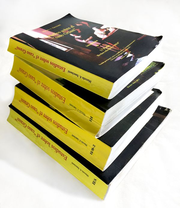 Los libros para defender al sacerdote abusador (foto: Infobae)