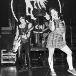 NEW YORK - 14th JULY: Singer Kathleen Hanna and drummer Tobi Vailfrom American group Bikini Kill perform live on stage with Joan Jett (left) at Irving Plaza in New York on 14th July 1994. (Photo by Ebet Roberts/Redferns)